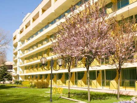 SAINTS CONSTANTINE AND HELENA, BULGARIA - APRIL 10, 2015: Hotel Marina in spring in Saints Constantine and Helena, the oldest first sea resort of Bulgaria, exists from 19 century.S