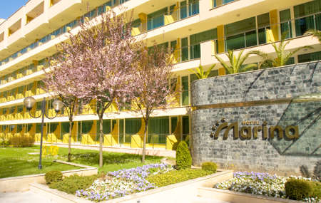 SAINTS CONSTANTINE AND HELENA, BULGARIA - APRIL 04, 2015: hotel Marina in spring in Saints Constantine and Helena, the oldest first sea resort of Bulgaria, exists from 19 century. Editorial