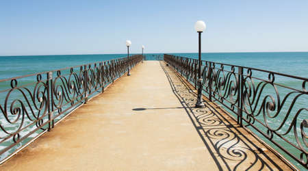 Sea landscape with pier, recorded in Saints Constantine and Helena resort, Bulgaria.
