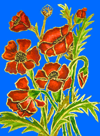 fine art painting: Poppies on blue background, hand painted illustration, watercolours and gouache.