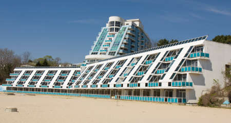 SAINTS CONSTANTINE AND HELENA, BULGARIA - APRIL 20, 2015: Hotel Rubin in Saints Constantine and Helena, the oldest first sea resort of Bulgaria, exists from 19 century.