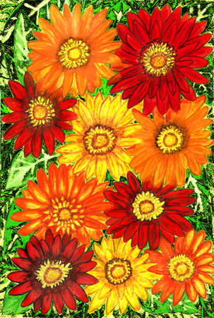 Background from gerbera flowers of red, orange and yellow colours on green leaves, hand painted picture, watercolours. Size of original 29,5 x 20,5 sm.
