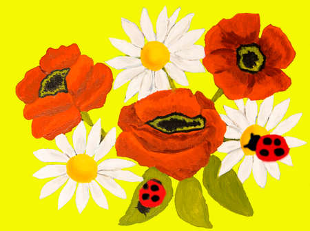 oxeye: Red poppies and camomiles (ox-eye daisy) on yellow background, oil painting. Stock Photo