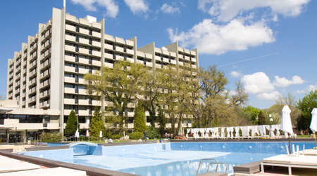 SAINTS CONSTANTINE AND HELENA, BULGARIA - APRIL 23, 2015: Grand hotel Varna in Saints Constantine and Helena, the oldest first sea resort of Bulgaria, exists from 19 century. Editorial
