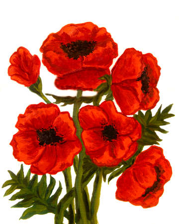 Hand painted picture, oil painting, red poppies on white background, vertical. Size of original 30 x 24 sm. Reklamní fotografie