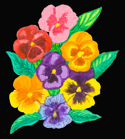 backgrund: Composition with few pansies - viola tricolor - on black background, watercolour painting
