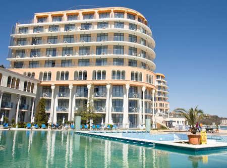 SAINT CONSTANTINE AND HELENA, BULGARIA - APRIL 10, 2015: hotel Azalia . Saint Constantine and Helena is the oldest first sea resort of Bulgaria, exists from 19 century.
