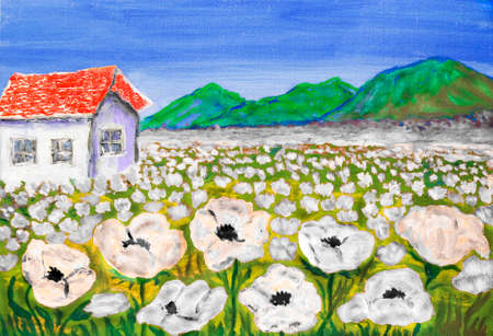 House on meadow with white flowers, painting