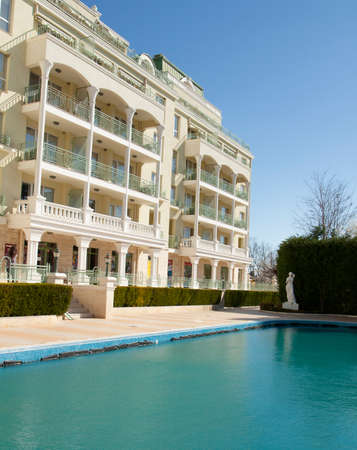 SAINTS CONSTANTINE AND HELENA, BULGARIA - APRIL 02, 2015: hotel Romance in Saints Constantine and Helena, the oldest first sea resort of Bulgaria, exists from 19 century. Editorial