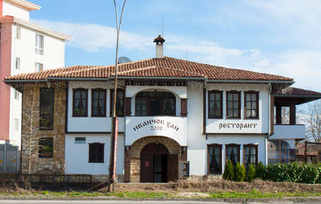 SAINTS CONSTANTINE AND HELENA, BULGARIA - APRIL 02, 2015: restaurant in national style Ivanchov Han Saints Constantine and Helena, the oldest first sea resort of Bulgaria, exists from 19 century.