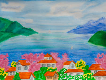 seacoast: Illustration painting watercolor, landscape with sea, hills, and houses with orange tiles roofs and pink spring trees in blossom. Stock Photo