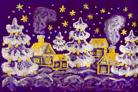 Hand painted picture - winter - Christmas - New year postcard, houses and fir trees on violet background, silver and golden gouache.