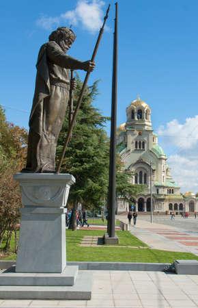 Sofia, Bulgaria, Alexander Nevsky cathedrral and monument to tzar Samuel