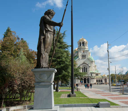 Sofia, Bulgaria, Alexander Nevsky cathedrral and monument to tzar Samuel