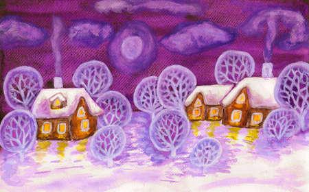 Winter landscape in violet colours, painting Stok Fotoğraf