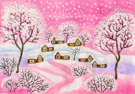 Winter landscape in pink colours, painting Stock Photo