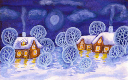 Hand painted picture, winter landscape with houses and trees, can be used as Christmas - New Year holiday postcard, watercolours. Size of original 29,5 x 19 sm.