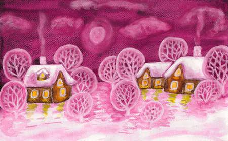 Winter landscape in crimson colours, painting