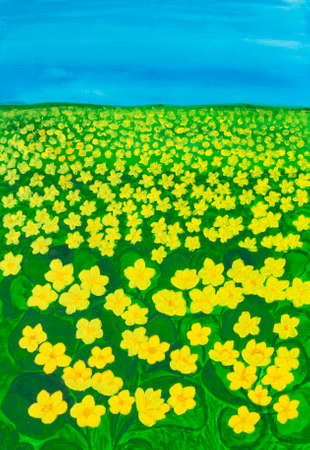 Spring meadow with many first spring flowers yellow buttercupslatin illustration spring meadow with many first spring flowers yellow buttercupslatin name ranunculus illustration painting acrylic on canvas mightylinksfo