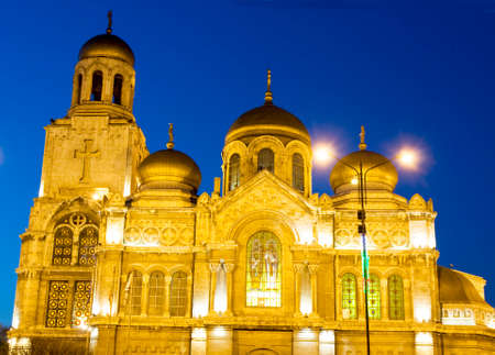 Orthodox cathedral of the Asumption of the Virgin Mary at night, Varna, Bulgaria.