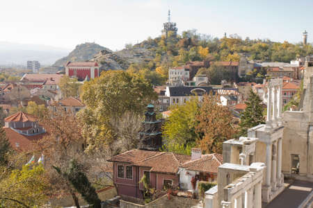 PLOVDIV, BULGARIA - NOVEMBER 09, 2015: View on the town and ancient theatre, built in II century.