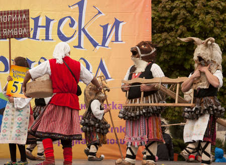 VARNA, BULGARIA - APRIL 28, 2018: Carnival Holiday of masks, carnival and theater costumes and national costumes