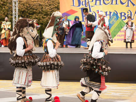 VARNA, BULGARIA - APRIL 29, 2017: Carnival Holiday of masks, carnival and theater costumes and national costumes.