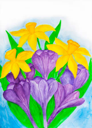 Purple crocuses and yellow daffodiles, watercolor painting. Banco de Imagens