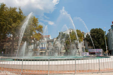 VARNA, BULGARIA - AUGUST 14, 2015: Fountain on Independence square