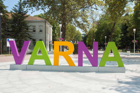 VARNA, BULGARIA - AUGUST 14, 2015: Letters with name of town on Letters with name of town on Saints Kirill and Mefody square in city centre, Varna, Bulgaria Editorial