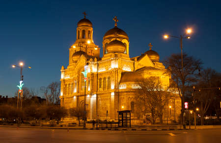 VARNA, BULGARIA - APRIL 11, 2015: Orthodox cathedral of Assumption of the Virgin Mary at night Editorial