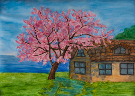House with cercis tree on sea shore in Bulgaria Stock Photo