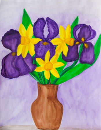 Violet irises and yellow daffodiles in vase