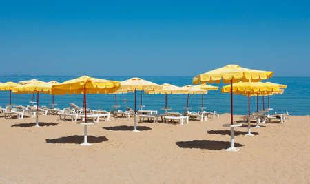 Umbrellas on sea beach Golden Sands, Bulgaria.