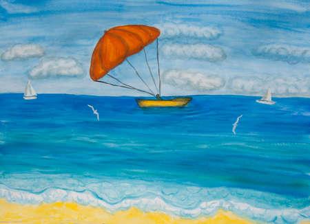 Seascape with orange parachute, watercolor painting illustration