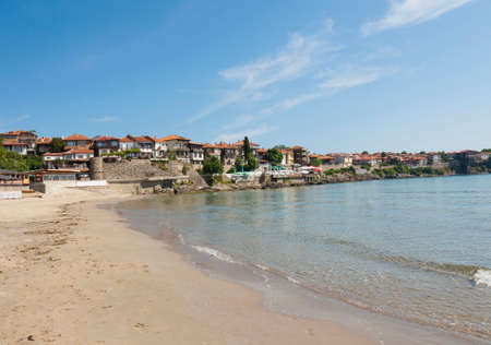 Panoramic view on architectural-historic complex old town Sozopol, Bulgaria. Фото со стока