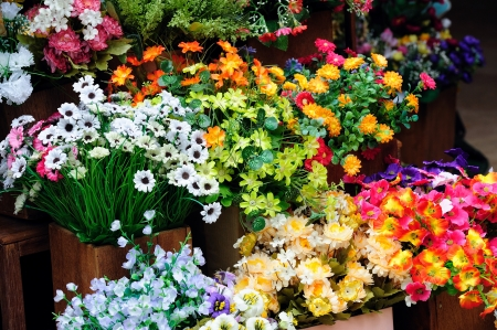 sidewalk sale: fresh flowers.