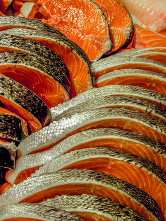 cleaned: Norwegian salmon at a fish market Stock Photo
