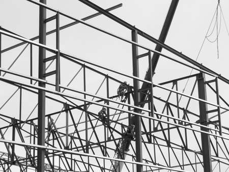 Steel Frame Of A New Industrial Building Being Erected. Stock Photo ...