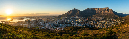 Rare cloudless view on capetown and the mountain table while sunrise.