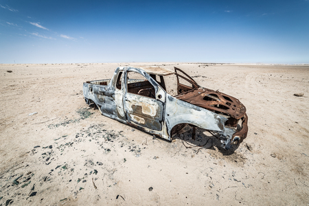 A car wreck in the namib desert near Walvis Bay