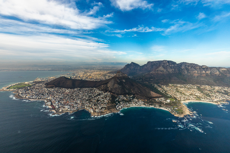 Helicopter flight over Capetown Stockfoto