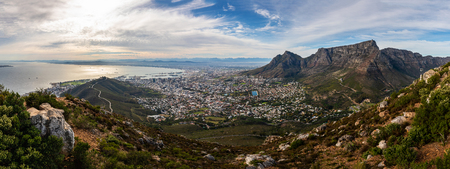 Panoramic view on Cape Town shot from the Lions Head Stockfoto