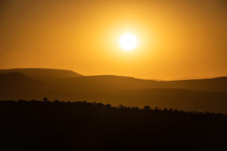 Sunset in the soft hills of Addo Elephant National Park Stockfoto