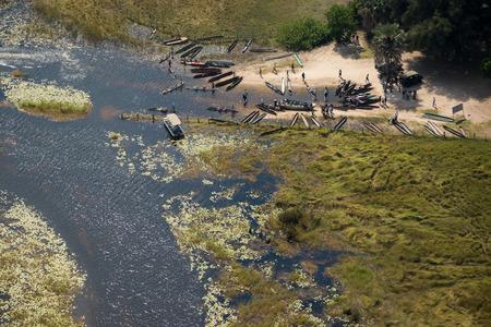 Some mokoros waiting for tourists to do an okavango delta trip