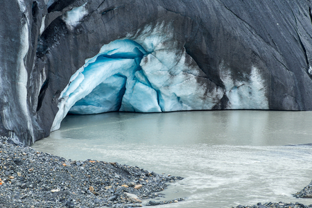 A melting ice grotto at the Athabasca Glacier