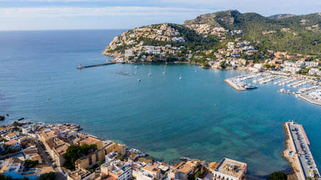 aerial view of the Bay and the yacht port of Andratx Majorca Spain Imagens