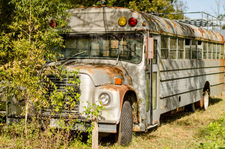 run down: Old Private Bus now standing in Texas in a very run down condition. Stock Photo