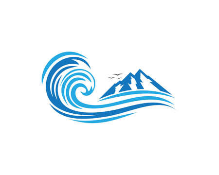 Water wave Logo Template Çizim