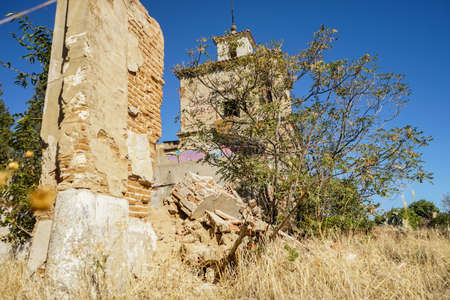 Old tower of a hamlet in a ghost town.